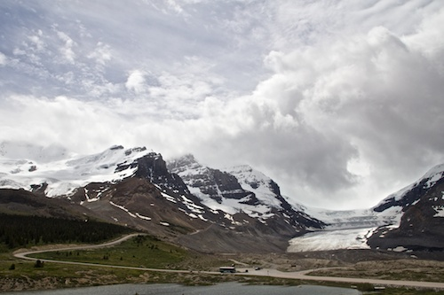 View of the Athabasca Glacier, it used to flow almost to the road